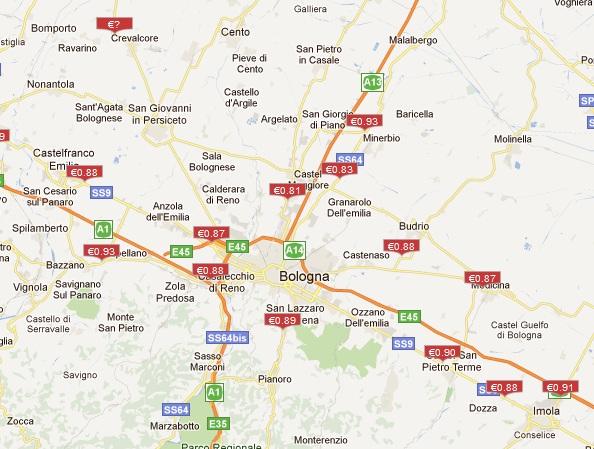 CNG töltőállomás térkép részlet Olaszországból